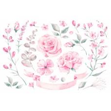 Нежная цветочная  композиция с лентой R24